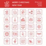 Natale, linea piana icone del nuovo anno Vacanze invernali - regalo dell'albero di Natale, pupazzo di neve, il Babbo Natale, fuoc royalty illustrazione gratis