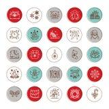 Natale, linea piana icone del nuovo anno Vacanze invernali - regalo dell'albero di Natale, pupazzo di neve, il Babbo Natale, fuoc Fotografia Stock Libera da Diritti