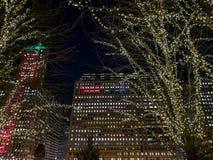 Natale/luci di festa su paesaggio urbano di Chicago a dicembre fotografia stock