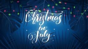 Natale a luglio Fondo tropicale con le foglie di palma, le luci di Natale e l'iscrizione esotiche Insegna di Natale di estate Fotografie Stock