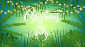 Natale a luglio Fondo tropicale con le foglie di palma, le luci di Natale e l'iscrizione esotiche Insegna di Natale di estate Fotografia Stock