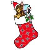 Natale malato con il gatto ed i presente Immagini Stock Libere da Diritti