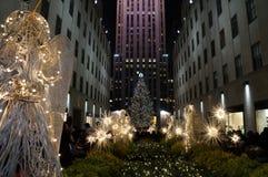 Natale nella plaza di Rockefeller Fotografie Stock