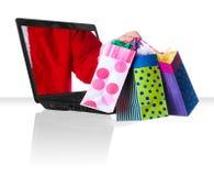 Natale nero del computer portatile Fotografie Stock Libere da Diritti