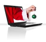 Natale nero del computer portatile Fotografia Stock Libera da Diritti