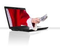 Natale nero del computer portatile Immagine Stock