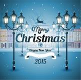 Natale nevoso della via della cartolina d'auguri vecchio Immagine Stock