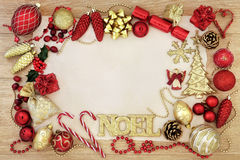 Natale Noel Abstract Border Immagine Stock