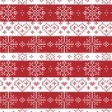 Natale nordico rosso e bianco senza cuciture Immagine Stock Libera da Diritti