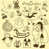 Natale, nuovo anno, insieme di vettore Fotografia Stock
