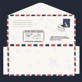 Natale, nuovo anno Lettera al Babbo Natale modello, busta, bollo Vettore Fotografia Stock Libera da Diritti