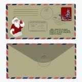 Natale, nuovo anno Lettera al Babbo Natale modello, busta, bollo Vettore Fotografia Stock