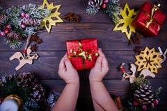 Natale o fondo di legno del nuovo anno immagine stock