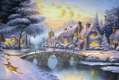 Natale originale della pittura a olio Fotografia Stock Libera da Diritti