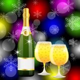 Natale postale con una bottiglia ed i vetri di champagne Fotografia Stock