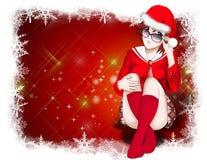 Natale, priorità bassa delle donne del Babbo Natale Immagini Stock Libere da Diritti