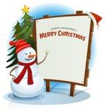 Natale pupazzo di neve e fondo del segno di legno illustrazione vettoriale