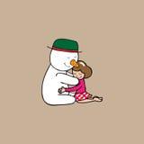 Natale pupazzo di neve e ragazza dell'abbraccio Fotografia Stock