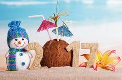 Natale pupazzo di neve, noce di cocco con gli ombrelli e l'iscrizione 2017 in sabbia contro il mare Immagine Stock