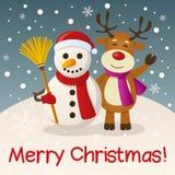 Natale pupazzo di neve & renna Fotografie Stock Libere da Diritti