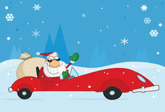 Natale Santa che fluttua dalla sua automobile sportiva di colore rosso illustrazione vettoriale