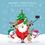 Natale, Santa Claus ed amici Selfie Immagini Stock