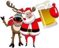 Natale Santa Claus Hug Beer Mug della renna Immagini Stock Libere da Diritti