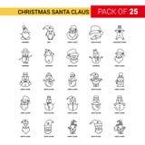 Natale Santa Clause Black Line Icon - un profilo Ico di 25 affari illustrazione di stock