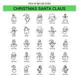 Natale Santa Clause Line Icon Set - stile tratteggiato del profilo 25 illustrazione di stock