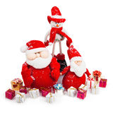 Natale Santa e pupazzo di neve con i regali Immagine Stock Libera da Diritti