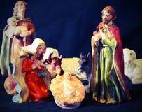 Natale SANTO della famiglia con doneky ed il bue Fotografia Stock Libera da Diritti