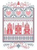 Natale scandinavo, inverno nordico di stile cucente, modello compreso il fiocco di neve, cuore, villaggio del paese delle meravig illustrazione di stock