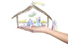 Natale, scena di natività disegnata da un piccolo bambino Fotografia Stock Libera da Diritti
