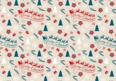 Natale senza cuciture modello, vettore Fotografie Stock Libere da Diritti
