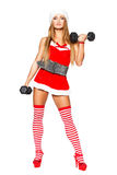 Natale sexy del modello di forma fisica Fotografie Stock
