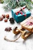 Natale slitta e regali Immagine Stock