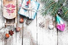 Natale slitta e regali Fotografie Stock