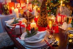 Natale speciale che mette tavola Fotografia Stock Libera da Diritti