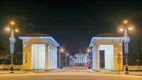 Natale St Petersburg Smolny Institute che costruisce alla notte Fotografia Stock