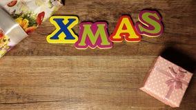 Natale su fondo di legno Fotografia Stock