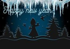 Natale sveglio di signora in corona Cartolina di Natale di vettore royalty illustrazione gratis
