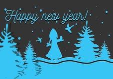 Natale sveglio di signora in corona Cartolina di Natale di vettore illustrazione di stock