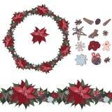 Natale sveglio fissato: spazzola senza cuciture, corona con l'euphorbia pulcherrima ed elementi isolati della decorazione tradizi illustrazione di stock