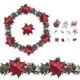 Natale sveglio fissato: spazzola senza cuciture, corona con l'euphorbia pulcherrima ed elementi isolati della decorazione tradizi illustrazione vettoriale