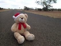Natale Teddy Bear sulla strada Immagine Stock