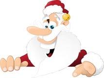 Natale tradizionale Santa che tiene un cartello Fotografia Stock Libera da Diritti