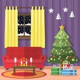Natale-vivere-stanza Immagini Stock Libere da Diritti