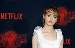 Natalia Dyer. At the Netflix`s season 2 premiere of `Stranger Things` held at the Regency Village Theatre in Westwood, USA on October 26, 2017 Stock Images