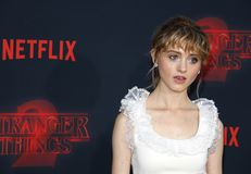 Natalia Dyer. At the Netflix`s season 2 premiere of `Stranger Things` held at the Regency Village Theatre in Westwood, USA on October 26, 2017 Stock Photos