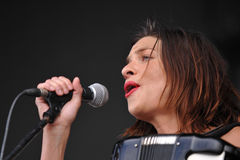 Natalia Tena. Of British band Molotov Jukebox performs during the music festival Rock for People in Hradec Kralove, Czech Republic on July 5, 2014 Royalty Free Stock Images